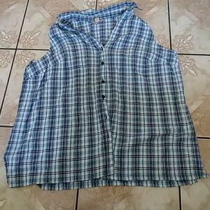 Plus size sleeveless flannel shirt